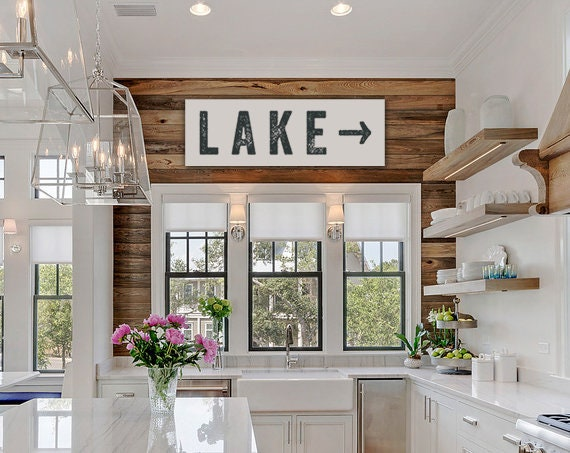 Lake Sign Arrow Large Canvas, Lake House Decor, Vintage-look, Custom Sign,  Cabin Decor, Kitchen Art, Personalize Colors and Left or Right