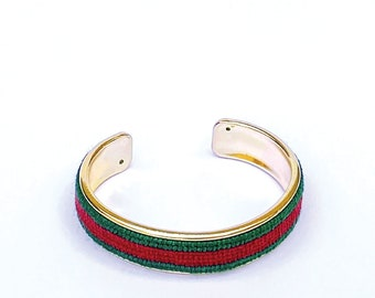 Custom Needlepoint Bracelet in Stripes, Personalized 1/2 inch Gold Plated Cuff, Choose your Colors, Shown in Dark Green and Dark Red