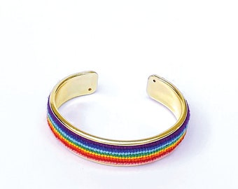 LIMITED EDITION Needlepoint Bracelet in Rainbow Stripes, 1/2 inch Gold Plated Cuff