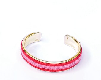 Custom Needlepoint Bracelet in Stripes, Personalized 1/2 inch Gold Plated Cuff, Choose your Colors, Shown in Pink and Poppy Pink