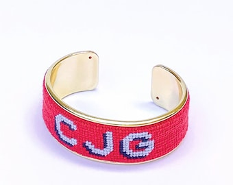 Custom Monogram Needlepoint Bracelet, Personalized 3/4 inch Gold Plated Cuff, Choose your Colors, Shown in Poppy Pink and Sky Blue