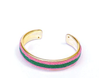 Custom Needlepoint Bracelet in Stripes, Personalized 1/2 inch Gold Plated Cuff, Choose your Colors, Shown in Pink and Green