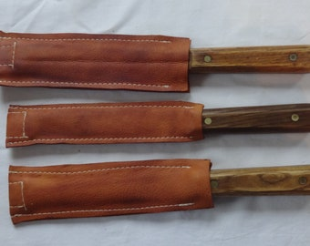 Artisan Custom Deerskin Kitchen Knife Covers with Leather Point Insert