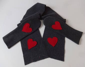 100% Wool Cashmere Scarf w/Hearts and Matching Mittens-Dress,Valentine's,Winter