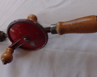 Vintage 1950s Mechanical Hand Drill,Hardwood Handles with bit cover-