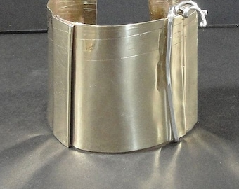 Artisan Brass Form Folded Cuff Sterling Wire-Pleated Vine