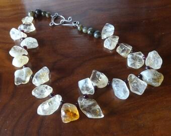 Artisan Citrine, Garnet and Labrodite Gemstone Necklace-Sparkling Springtime, Prom, Engagement