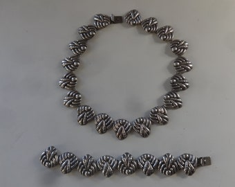 Vintage Ballesteros Necklace/Bracelet-Eagle 20 Mid Century-Shell Motif