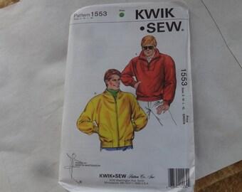 Vintage 1986 KWIK SEW unopened, unused, S-M-L-XL Bomber Jacket, Pullover  Pattern -winter/fall/fishing/climbing/sports