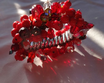 Artisan Red Czech Bead and Flower Cha Cha bracelet-Vintage Beads,Crystals,Expansion Bangle