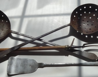 Anique Primative Handforged Tools-PA,York Co.,Sieve,Fork,Spatula,Early 1800s,Iron,Farm