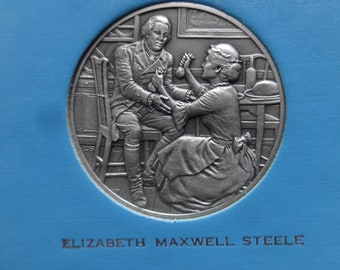 DAR The Great Women of the American Revolution-Steele and Stuart— Fine Pewter Medals-Franklin Mint-1974 Mother's Day