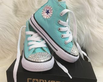 e16fc29b652e Light Aqua Toddler All Star Converse Chuck Taylor  Blinged Out With 100%  Swarovski Rhinestones  Satin Ribbon Laces Available For No Upcharge