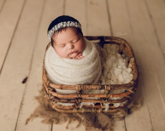 Ana Cream  Newborn Headband Tieback Photography Props Newborn Girl Photo Prop Newborn Tieback