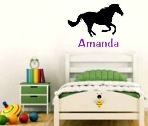 horse wall decal name decal custom decal wall decal nursery | etsy