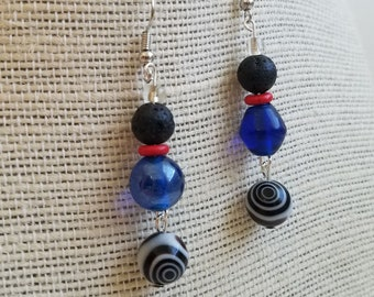 Sea Blue and Coral Red Beaded Earrings