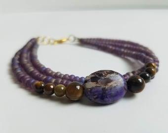 Purple Fire Agate, Tiger's Eye, and Amethyst Czech Glass beaded Bracelet
