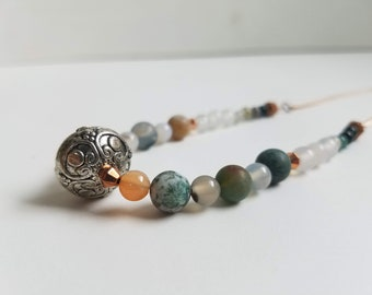 Fancy Jasper, Striped Agate, Rhondite, Faceted Copper, and Decorative Metal Beaded Necklace