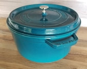 Staub Made in France La Cocotte 30 cm Cast Iron Dutch Oven Pot in La Mer Teal Enamel Color