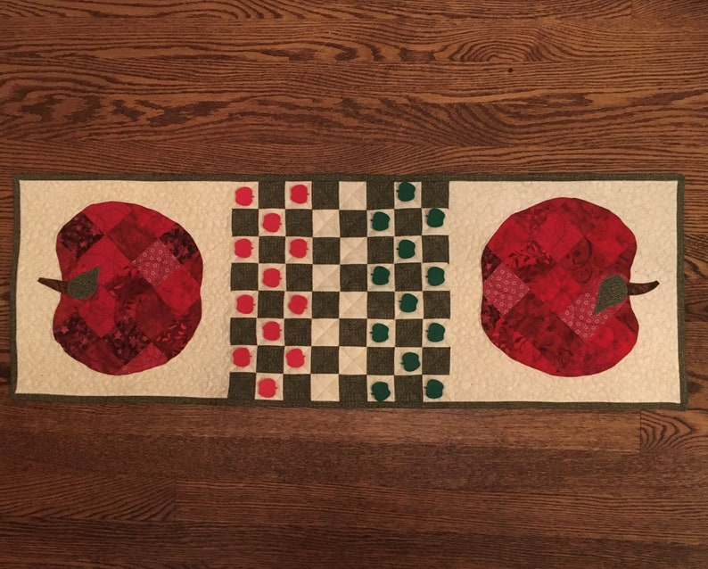 Quilted Apple Table Runner with Checkerboard image 0