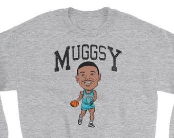 3acd30dac22 Vintage-style Muggsy Bogues Caricature Crewneck Sweatshirt
