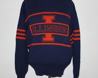 Vintage Illinois Fighting Illini Cliff Engle NCAA Sweater L ceeb04e94