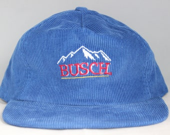 Vintage BUSCH Beer Corduroy Strapback Hat 8eb9e744e3c0