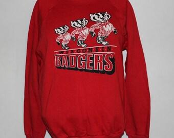 04d59384 Vintage Wisconsin Badgers NCAA Crewneck Sweatshirt L