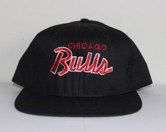 Vintage Chicago Bulls New Era Script Snapback Hat