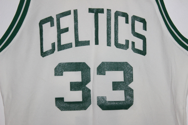 huge selection of 4f8e7 b8107 Vintage Boston Celtics Larry Bird Sand Knit NBA Jersey S