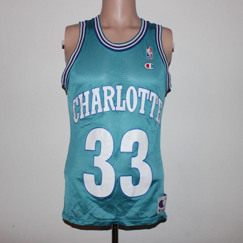 Vintage Charlotte Hornets Alonzo Mourning Champion NBA Jersey  584804fdd