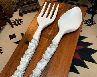 Large Hand-Carved Teak Hawaiian Fork & Spoon Wall Decor 2pc.Set w/Weathered Finish