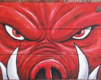 "Official Arkansas Razorback painting ""Tusks"" on hand-made wooden canvas"