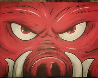 "Official Arkansas Razorback painting ""lil Tusk"" on stretched canvas"