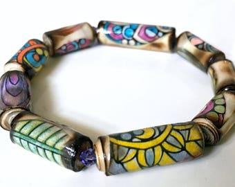 Paper Bead Bracelet - Zentangle Style