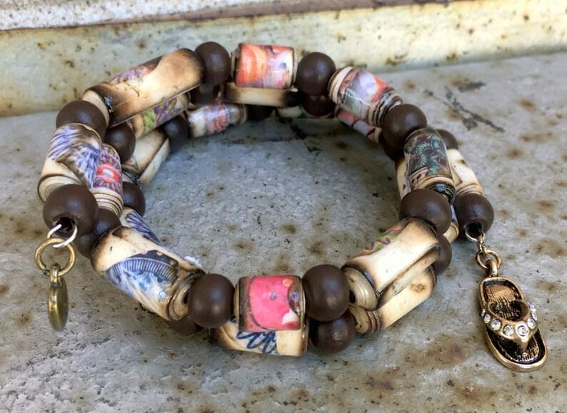 Boho Memory Wire Paper Bead Bracelet
