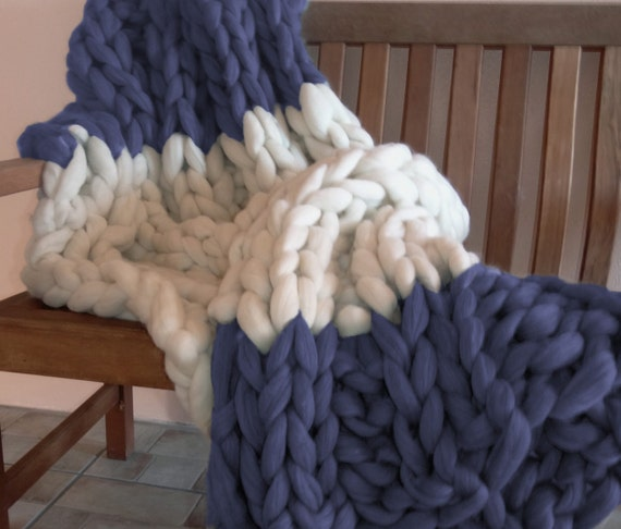 Chunky Knit Blanket, 32x48, Pure Merino Wool, knit blanket, throw, hand knit, wool blanket, fall trending