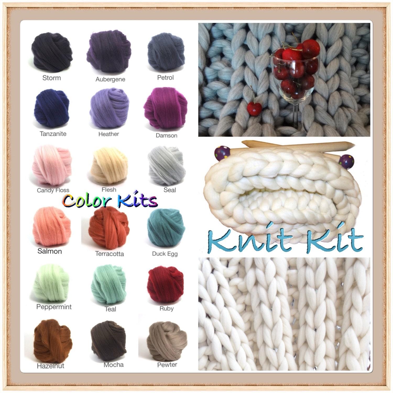 KNIT-KIT,COLOR Choice! Chunky Blanket, 24 Needles,4.4# Chunky Yarn ...
