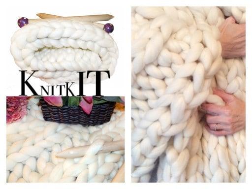 Chunky Knit Kit Large Blanket Kit Diy Chunky Blanket 24 Giant