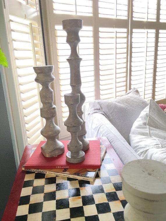 Candle Holders, Set of 3 Wood Candlesticks - Handmade modern farmhouse decor, home decor candlesticks