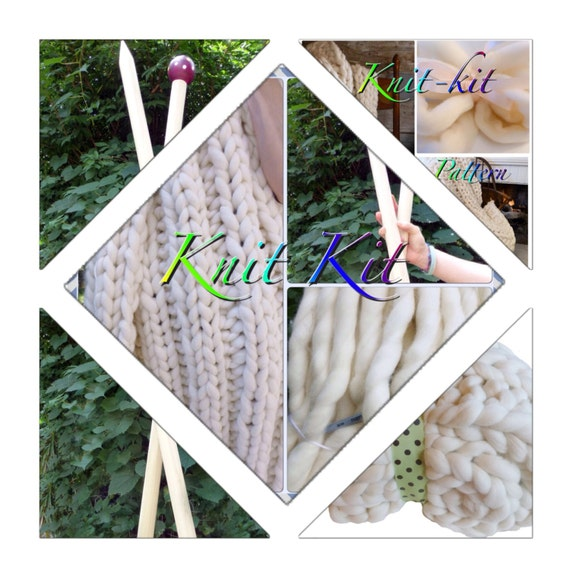 Create Your Own KNIT-KIT, Chunky Blanket Medium Chunky Yarn, Tutorial, Patterns,