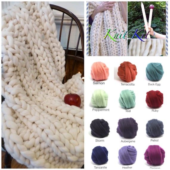 KNIT KIT, DIY Chunky Knit Blanket  Needles,4# Chunky Yarn and  Patterns - Smoosh Yarn, giant knitting