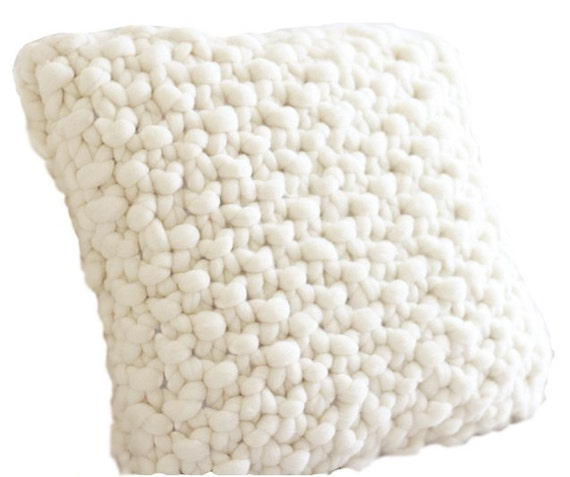 Chunky Pillow, Hand Knit original Pure Merino