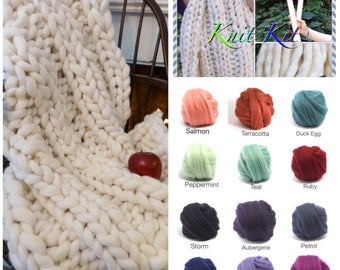 "KNIT-KIT, Chunky Blanket, 24"" Needles,4# Chunky Yarn, Tutorial, Patterns,"