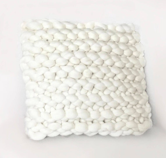 Knit Pillow, Chunky Knit, Home Decor, Hand Knit, Pure Merino, Chunky Pillow