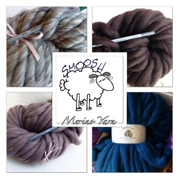 "Giant Chunky Yarn, Super- THICK Yarn, ""Smoosh Yarn"" ™ For Chunky Blankets, Extreme Hand Spun yarn"