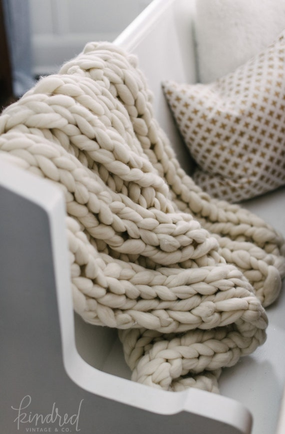 "Super Chunky Knit Blanket  SMOOSH Blanket  32x54"" Pure Merino Natural Wool Blanket"