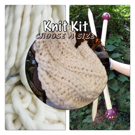 "KNIT KIT, DIY, Chunky Blanket, Choose a Size, 18"" Needles, Chunky Yarn, Tutorial, Patterns,"