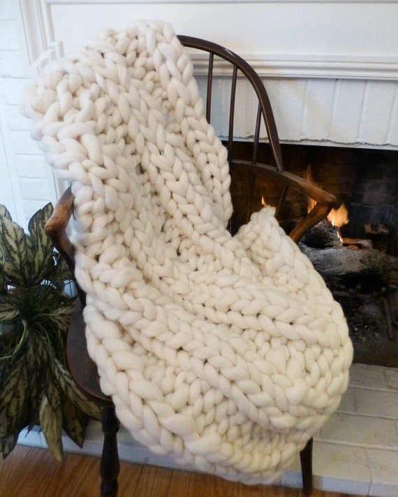 Chunky Knit Blanket, 32x48, Pure Merino Wool, knit blanket, throw, trending