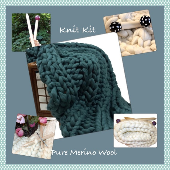 "KNIT KIT ,COLOR Choice! Giant Knitting -  Chunky Blanket, 24"" Needles,4.4# Chunky Yarn, Tutorial, Patterns,"